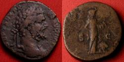 Ancient Coins - SEPTIMIUS SEVERUS AE sestertius. AFRICA! Rome, 194 AD. Africa standing, lion at her side.