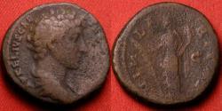 Ancient Coins - MARCUS AURELIUS, as Caesar, orichalcum dupondius. Hilaritas standing. Heavy 13.9g.