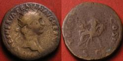 Ancient Coins - TRAJAN AE dupondius. Abundantia seated on chair of cornucopiae. Early issue, 101-102 AD. 12.5 grams