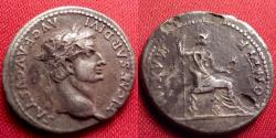 Ancient Coins - TIBERIUS fouree silver denarius. PONTIF MAXIM, Livia, as Pax, seated right