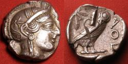 Ancient Coins - ATHENS AR silver tetradrachm. Helmeted head of Athena, Owl on reverse.