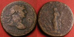 Ancient Coins - TRAJAN AE dupondius. SPQR OPTIMO PRINCIPI, Fortuna standing, holding rudder on prow & cornucopia