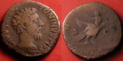 Ancient Coins - DIVUS MARCUS AURELIUS AE sestertius. Commodus, 180 AD. Divine Aurelius reclining on eagle soaring upwards, thunderbolt in its talons.