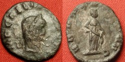Ancient Coins - GALLIENUS AE silvered denarius. ABUNDANTIA standing, emptying out cornucopia. Rare.