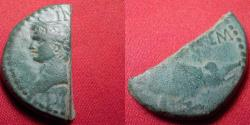 Ancient Coins - (AUGUSTUS) & AGRIPPA AE 'half dupondius'. Nemausus, Gaul, 10 AD or after. Chained crocodile. Cut in half for fractional change