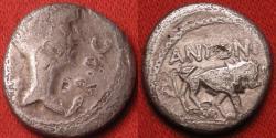 Ancient Coins - FULVIA, second wife of Marc Antony, AR silver quinarius. Transapline Gaul or Lugdunum, 42 BC. Lion standing.