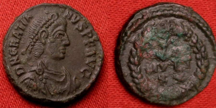 Ancient Coins - GRATIAN 14mm AE4. VOT XV MVLT XX in wreath