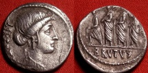 Ancient Coins - MARCUS JUNIUS BRUTUS AR silver denarius. Bust of Libertas, Consul Brutus walking with lictors.