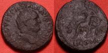 Ancient Coins - VESPASIAN AE dupondius. ROMA seated, holding wreath & parazonium. Scarce
