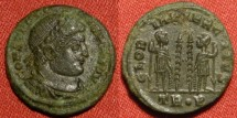 Ancient Coins - CONSTANTINE I THE GREAT AE3. Trier mint, 332-333 AD. GLORIA EXERCITUS, two soldiers & two standards. TR P in exergue, R4. Terrific reverse