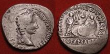Ancient Coins - AUGUSTUS AR silver denarius. Caius & Lucius Caesars standing, shields & spears between, lituus and simpulum 'Pd'