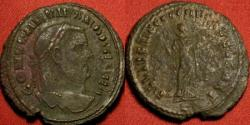 Ancient Coins - CONSTANTIUS I CHLORUS, as Caesar, AE large follis. Carthage mint, Carthago standing, holding fruit. Scarce. Double struck or overstruck, clashed legends.