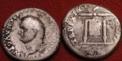 Ancient Coins - TITUS AR silver denarius. Rome, 80 AD. Thunderbolt on table. Left facing portrait, very scarce.