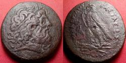 Ancient Coins - PTOLEMY IV PHILOPATOR AE 35mm triobol. Eagle standing, ΔI between legs