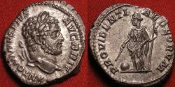 Ancient Coins - CARACALLA AR silver denarius. Providentia standing, PROVIDENTIAE DEORVM. Very nice