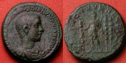 Ancient Coins - DIADUMENIAN AE dupondius. 217-218 AD. PRINCIPI IVVENTVTIS, Diadumenian with standards. Heavy 12 grams. Very rare.