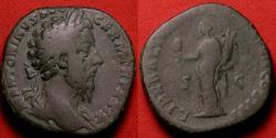 Ancient Coins - MARCUS AURELIUS AE orichalcum sestertius. Liberalitas standing, holding abacus and cornucopia. 6th Donative, 175 AD.