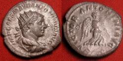 Ancient Coins - ELAGABALUS AR silver antoninianus. Rome, 219 AD. VICTOR ANTONINI, Victory advancing
