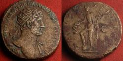 Ancient Coins - HADRIAN AE orichalcum dupondius. Salus standing, holding long rudder & patera. 119-121 AD. Heavy 14.3g.