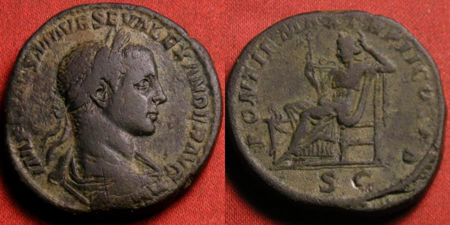 Ancient Coins - SEVERUS ALEXANDER AE sestertius. 223 AD. Securitas seated left, holding scepter, altar at her feet.