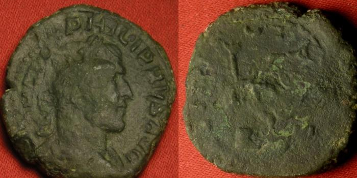 Ancient Coins - POSTUMUS AE radiate double sestertius. Fides standing, holding standards. 'Failed' overstrike on a Philip I LIBERALITAS type. Undertype clearer than overtype!