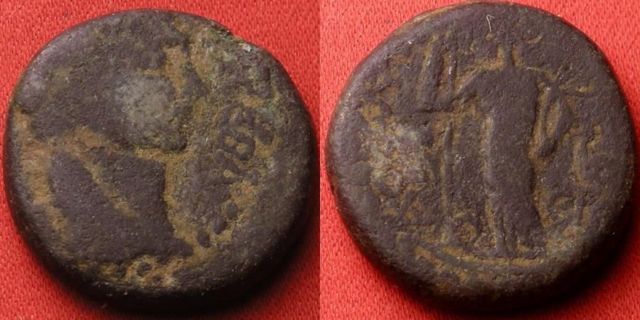 Ancient Coins - TRAJAN AE 23mm 'as'. JUDAEA, Ascalon. Tyche-Astarte standing left on galley. 112-113 AD