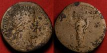 Ancient Coins - MARCUS AURELIUS AE orichalcum sestertius. Liberalitas standing, holding abacus and cornucopia. 7th Donative, 177 AD.