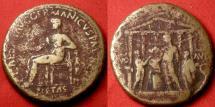 Ancient Coins - CALIGULA AE orichalcum sestertius. 37-38 AD. Sacrificial scene in front of the Temple of Divus Augustus. Rare.