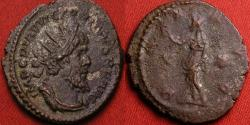 Ancient Coins - VICTORINUS AE silvered antoninianus. Pax standing, holding branch & scepter. Scarce longer obverse legend with PIAV