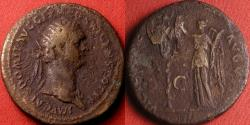 Ancient Coins - DOMITIAN AE dupondius. Victory standing, inscribing trophy of arms. 86 AD. Legend blunder, CENS POR P P