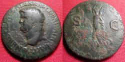 Ancient Coins - NERO AE as. Lugdunum mint. Victoria advancing, carrying inscribed shield. Left facing portrait.