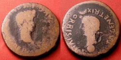 Ancient Coins - DIVUS AUGUSTUS & LIVIA AE 34mm 'sestertius'. Colonia Romula, Spain. Dual portrait issue, scarce
