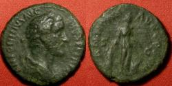 Ancient Coins - ANTONINUS PIUS AE as. Annona standing, holding modius and basket of fruit