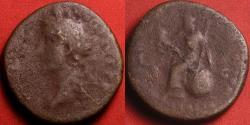Ancient Coins - ANTONINUS PIUS AE sestertius. ITALIA seated left on globe. Rare variant with left facing bust.