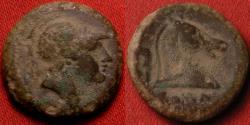 Ancient Coins - ROMAN REPUBLIC pre-denarius coinage. AE litra, 240 BC. Helmeted head of Mars, horse head with ROMA below.