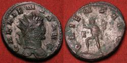 Ancient Coins - GALLIENUS AR antoninianus. Antioch mint. ORIENS AUG, Sol standing, holding globe and raising hand.