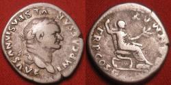 Ancient Coins - VESPASIAN AR silver denarius. Pax seated right. COS V