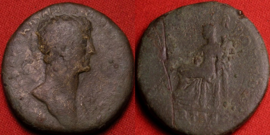 Ancient Coins - HADRIAN AE dupondius. Fortuna seated left, holding rudder & cornucopia. Early issue.