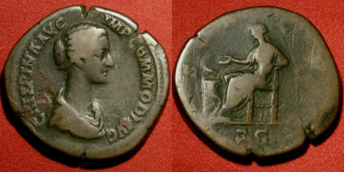 Ancient Coins - CRISPINA AE sestertius. Salus seated, feeding serpent. SCARCE legend with IMP COMMODI AVG, unusual long-necked portrait.