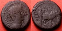 Ancient Coins - DIVUS AUGUSTUS AE 'dupondius'. BERYTUS, Phoenicia. Struck during the time of TRAJAN. Founder plowing with oxen. 15.1g.