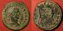 Ancient Coins - PROBUS AE antoninianus. Antioch mint, Clementia Temp, Emperor receiving Victory from Jupiter.