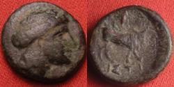 Ancient Coins - EUBOEA, Histiaea AE 12mm. Head of a Maenad, Bull standing right.