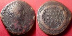 Ancient Coins - MARCUS AURELIUS AE sestertius. PRIMI DECENNALES, five lines within wreath. Rome, 171 AD.