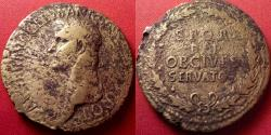 Ancient Coins - CALIGULA AE portrait sestertius. OB CIVES SERVATOS, legend in oak wreath. 37-38 AD.