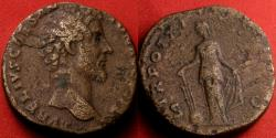 Ancient Coins - MARCUS AURELIUS CAESAR AE orichalcum sestertius. Fortuna standing, holding rudder & drawing out hem of skirt