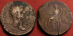 Ancient Coins - HADRIAN orichalcum dupondius. COS III, Fortuna seated, FORT RED in exergue.