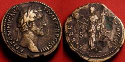 Ancient Coins - ANTONINUS PIUS AE sestertius. 5th donative, Liberalitas standing, holding cornucopia & coin dispenser