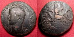 Ancient Coins - TIBERIUS AE as. LIVIA seated right, large SC. Rome mint, 15-16 AD. Left facing portrait.