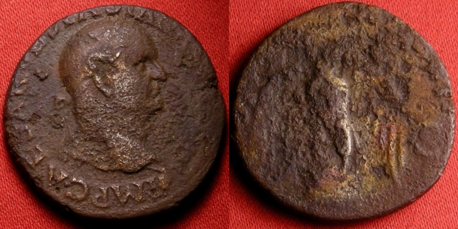Ancient Coins - VESPASIAN AE as. Eagle perched atop globe, wings spread. Lugdunum mint