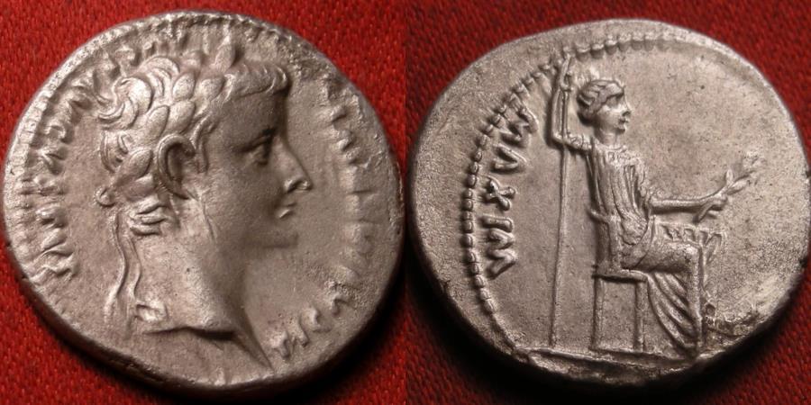 Ancient Coins - TIBERIUS AR silver denarius. PONTIF MAXIM, Livia, as Pax, seated right, plain legs to chair